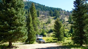Phoenix Pop Up Camper in the East Fork of the Blacktail, Montnana